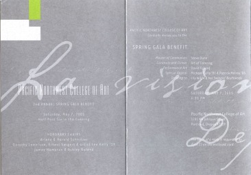 PNCA | Spring Gala Invitation Design (inside view)