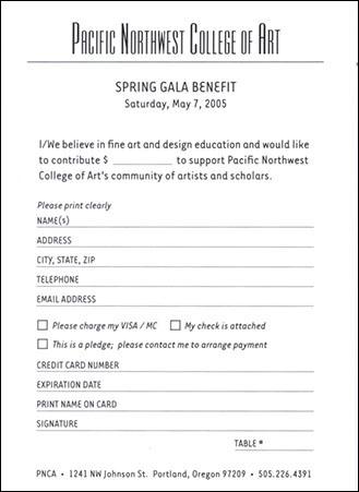 PNCA | Spring Gala RSVP Card